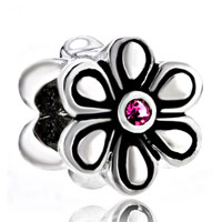 Sterling Silver Jewelry - birthstone charms flower rose october birthstone 925 sterling silver beads fits charms bracelet Image.