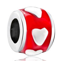 Sterling Silver Jewelry - sterling silver red circle heart love fit beads charms bracelets all brands Image.