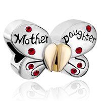 Mother Daughter Charm Separable Butterfly Charm Red Crystal Heart Love
