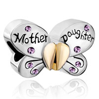 Mother Daughter Charms Separable Butterfly Purple Crystal Heart Mom