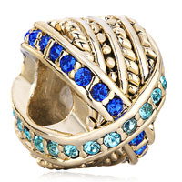 Charms Beads - 22k golden round mix matched blue rhinestone crystal charm bead Image.