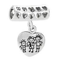 Charms Beads - happy family life dangle heart for love beads charms bracelets fit all brands Image.