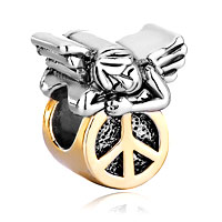 Charms Beads - 22k golden cute sleeping angel peace symbol beads charms bracelets Image.