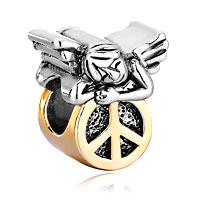 Charms Beads - 22k golden cute sleeping angel peace symbol beads charms bracelets Image.