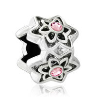 Charms Beads - silver plated rose pink swarovski crystal flower charms braceletss Image.