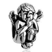 Charms Beads - silver angel squatting speak no evil european bead charms bracelets Image.