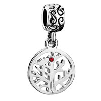 Charms Beads - dangle july birthstone family tree of life ruby red crystal charm bead Image.