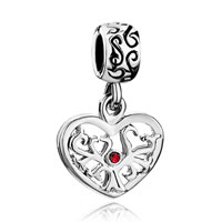 Charms Beads - silver heart charm bracelet tree july births red crystal dangle charm Image.