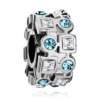Charms Beads - ferris wheel march birthstone crystal round square european bead blue Image.