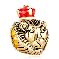 New Year Deals - 22k golden lion king red drip crown european bead charms bracelets Image.