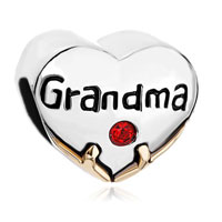 Charms Beads - heart charm bracelet grandma red swarovski crystal love beads charm Image.