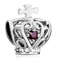 Charms Beads - silver filigree silver cross bracelet charm on crown garnet red Image.
