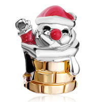 Charms Beads - red drip santa claus in chimney european bead charms bracelets Image.