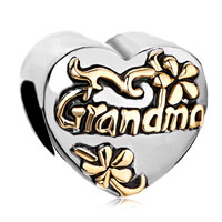 Charms Beads - heart floral european bead charms charms bracelets grandma love Image.