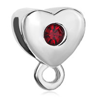 Charms Beads - january birthstone garnet red crystal dangle heart charm bracelet love Image.