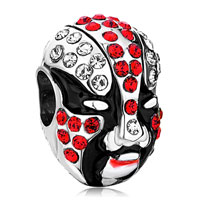 Charms Beads - silver black red peking opera mask european bead charm bracelet Image.
