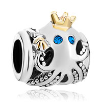 New Year Deals - cute octopus crown indicolite crystal european bead charm bracelets Image.