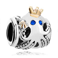 Charms Beads - blue sapphire crystal prince octopus bead designer charm charms Image.