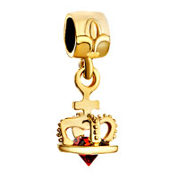 Charms Beads - 22 k golden plated crown indian red crystal dangle fit all brands beads charms bracelets Image.