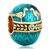 Charms Beads - 22k gold aquamarine blue couple birds love faberge egg bead charm Image.