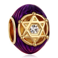 Charms Beads - purple crystal in double triangles rayed star of david bead gold Image.