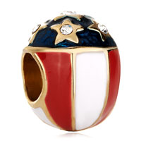 Charms Beads - white red cream blue stars faberge egg european bead charm bracelets Image.