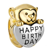 Charms Beads - 22k golden monkey holding heart charm bracelet love happy birthday Image.