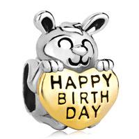 Charms Beads - 22k golden rabbit holding heart charm bracelet love happy birthday Image.