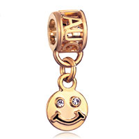 Charms Beads - filigree 22k golden laugh dangle smile face beads charms bracelets Image.