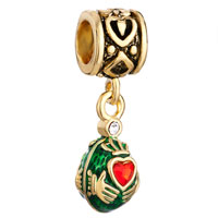 Charms Beads - vintage golden pattern dangle claddagh love beads charms european Image.