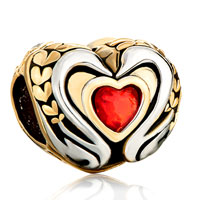 Charms Beads - 22k golden two tone swan couple light red crystal heart charm Image.