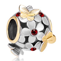 Charms Beads - silver 22k gold garnet red flower golden butterfly charm bracelet Image.