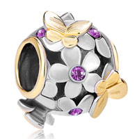 Charms Beads - 22k gold amethyst purple flower golden butterfly charm bracelet Image.