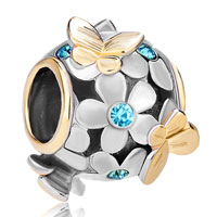 Charms Beads - 22k gold aquamarine blue flower golden butterfly charm bracelet Image.