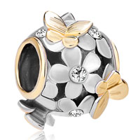 Charms Beads - silver 22k gold clear white flower golden butterfly charm bracelet Image.