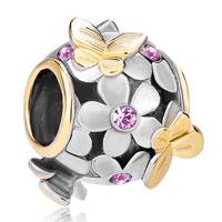 Charms Beads - 22k gold alexandrite amethyst flower golden butterfly charm bracelet Image.