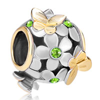 Charms Beads - silver 22k gold peridot green flower golden butterfly charm bracelet Image.