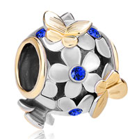 Charms Beads - silver 22k gold sapphire blue flower golden butterfly charm bracelet Image.