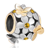 Charms Beads - silver 22k gold topaz yellow flower golden butterfly charm bracelet Image.