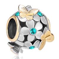Charms Beads - silver 22k gold blue topaz flower golden butterfly charm bracelet Image.