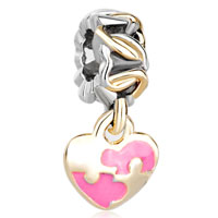 Charms Beads - golden p rose pink heart dangle two tone plated beads charms bracelets fit all brands Image.