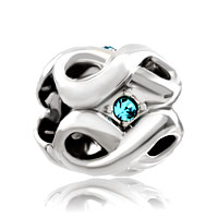 Charms Beads - silver plated march birthstone aquamarine blue crystal infinity charm Image.