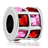 Charms Beads - rose pink and red crystals tiles drum charm bead designer charm Image.