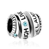 Charms Beads - aquamarine blue crystal live love laugh spiral bead charm bracelets Image.