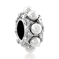 Charms Beads - silver white pearl charm bracelet spacer european infant charm bead Image.