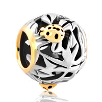 Charms Beads - gloden ladybug animal charms for bracelets on filigree flower beads Image.