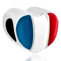 Charms Beads - heart charm bracelet france patriotic flag charm european bead Image.
