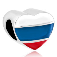Charms Beads - heart charm bracelet russian patriotic flag charm european bead Image.
