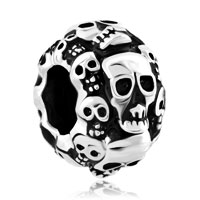 Charms Beads - silver plated silver halloween skeleton skull charm bracelet Image.