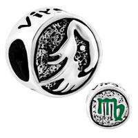 Charms Beads - silver silver tone virgo horoscope zodiac lucky charm bracelet Image.